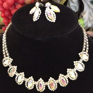 Weiss Vintage Borealis necklace and clip earrings